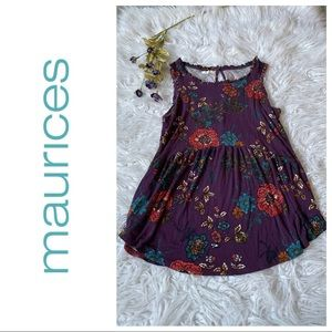 Comfortable Maurices purple floral tank top